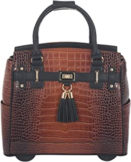 "The Boston Alligator Crocodile Alligator Computer iPad, Laptop Tablet Rolling Tote Bag Briefcase Carryall Bag 17"" 17.3"" inch brown JKM-BOS17"
