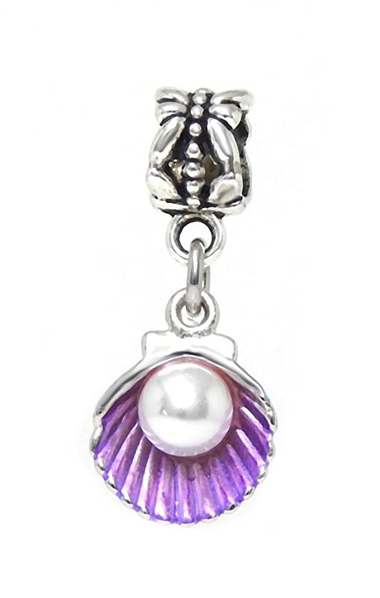 J&M Dangle Purple Sea Shell with Faux Pearl Charm Bead for Charms Bracelets