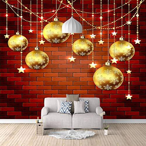 RCIFGU Fototapeten Goldene hängende Weihnachtskugel 3d stereo wohnzimmer sofa TV hintergrund wand papier schlafzimmer vlies tapete selbstklebend große wandbilder 400x280cm