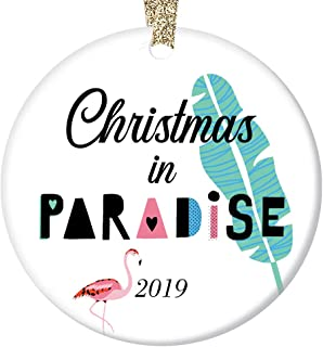 Pink Flamingo 2019 Ornament Christmas in Paradise Easy Island Beach Life Ceramic Collectible Present Holiday Tree Decoration Family Friends 3