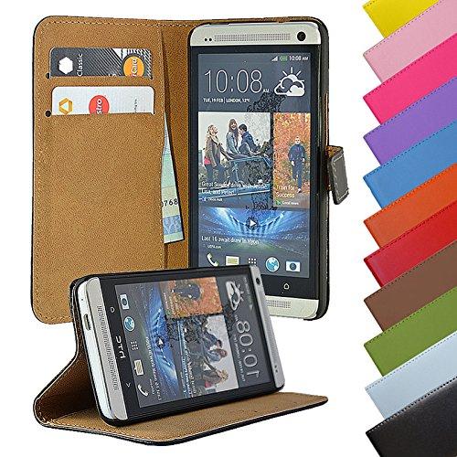 Eximmobile - Book Hülle Handyhülle für HTC One M7 mit Kartenfächer in Schwarz | Schutzhülle aus Kunstleder | Handytasche als Flip Hülle Cover | Handy Tasche | Etui Hülle Kunstledertasche