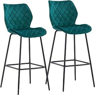 Duhome 2 x barkrukken barstoel van stof fluweel frame van metaal zithoogte 75 cm bar kruk bar stoel goed gewatteerd met ru...