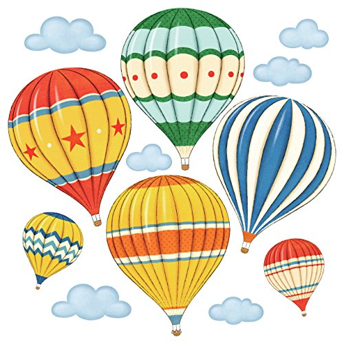 DECOWALL DS-8011 Colourful Hot Air Balloons Kids Wall Stickers Wall Decals Peel and Stick Removable Wall Stickers for Kids Nursery Bedroom Living Room (Small) décor