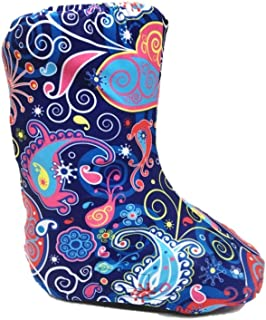 My Recovers Walking Boot Cover for Fracture Boot, Fashion Cover in Bright Blue Paisley, Short Boot, Made in USA, Medical Fashion (LG)