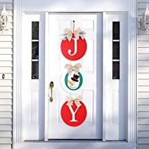 HXS Christmas Decorations Outdoor Christmas Wreaths Joy Christmas Signs Rustic Burlap Christmas Door Decorations Holiday D...