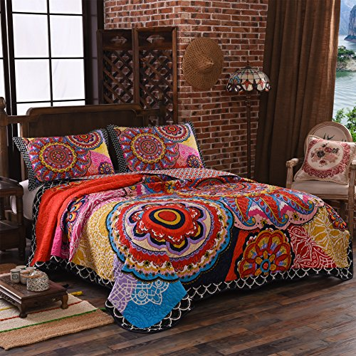 LAMEJOR Quilt Set Queen Size Tropical Bohemian Style Mandala Pattern Reversible Comforter Set 3-Piece Bedspread Coverlet Set Microfiber Color Orange