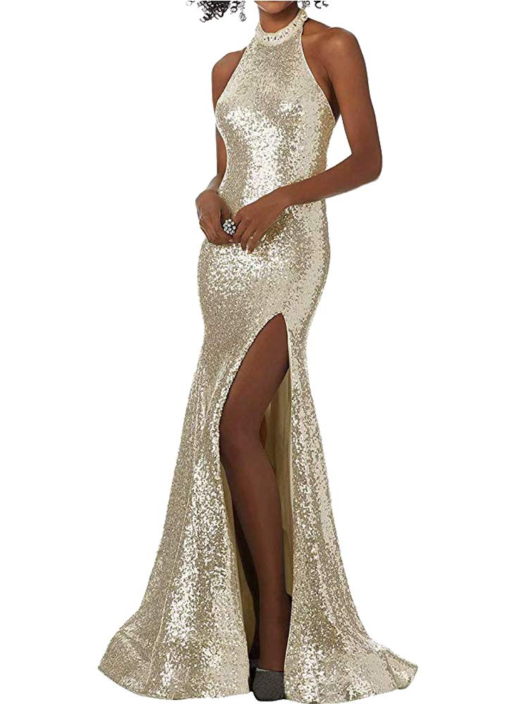 Available at Amazon: AiniDress Women's Sequin Prom Dress With High SplitOpen Back Evening Party Gown