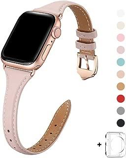 WFEAGL コンパチブル apple watch バンド 38mm 40mm,コンパチブル アップルウォッチ バンド iWatch series 5/4/3/2/1,トップグレード革 スリム&薄型交換用リストバンド (38mm 40mm, ピンクの砂 バンド+ゴールドバックル)