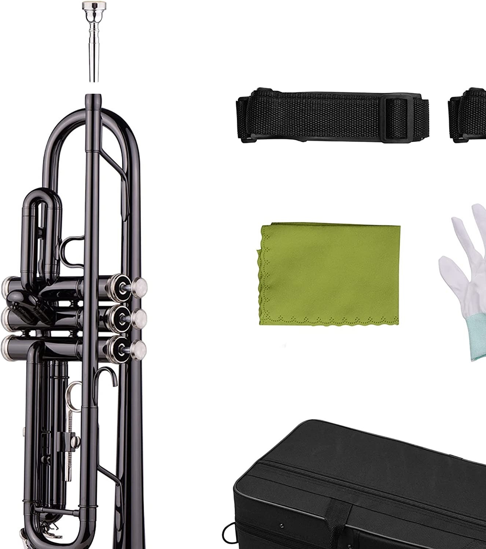 Standard Trumpets Max 52% OFF Brass Plated Black Bb Nippon regular agency Beginner Set Trumpet for