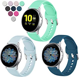 Lerobo Compatible with Samsung Galaxy Watch Active 2 Bands 40mm 44mm, Galaxy Watch Active Bands, Galaxy Watch Bands 42mm, 20mm Silicone Sport Strap,3 Pack,Small,Slate Blue Light Blue Green
