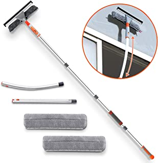 Squeegee Window Cleaner,Baban 2 in 1 Window Cleaning Tool with Elbow and Straight Extension Pole, 61