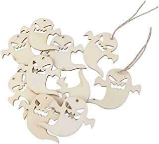 VOSAREA 10PCS Halloween Decoration Snicker Ghost Pendant with Hemp Ropes Hanging Embellishments Decotaitve Wooden Pieces Crafts Cutout Shape