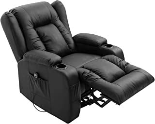 Electric Massage Chair Armchair PU Leather Recliner Sofa Lift Motor Armchair 8 Point Heating Seat Black