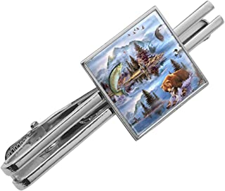 GRAPHICS & MORE Mountain Fly Fishing Bear Stream Lake Fish Square Tie Bar Clip Clasp Tack- Silver or Gold