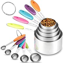 Nabil 10Pcs Stainless Steel Measuring Cups and Spoons Set with Silicone Grip Handle Measure Tools or Kitchen Gadgets Tool ...