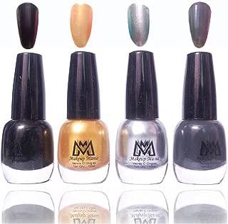Makeup Mania Premium Nail Polish Exclusive Nail Paint Combo (Black, Grey, Golden, Silver, Pack of 4)