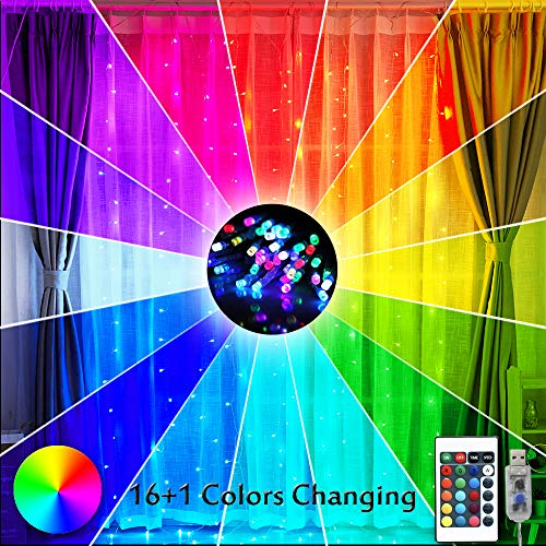Curtain Lights 16 Color Changing Rainbow Backdrop Window Lights, 200 LED USB Remote Control Colorful Icicle Fairy Lights String Lights for Christmas, Bedroom Decor-9.8ft x 9.8ft(Multiple Color)