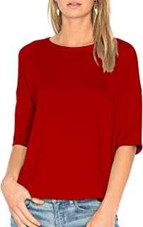 Womens Cotton T-Shirt 3/4 Sleeves Casual Loose Top Blouse