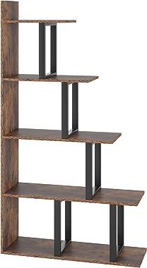 Homfa Wooden 5-Tier Bookshelf, Industrial Vintage Freestanding Bookcase 63Hx11.8Wx34.6L inch Multipurpose Storage Display Rac