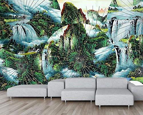 HDDNZH muurschildering, op maat gemaakte 3D grote muurschildering Chinese stijl witte paraplu abstract landschap serie schilderij tv achtergrond muur woonkamer slaapkamer huisdecoratie 200cm(H)×300cm(W)