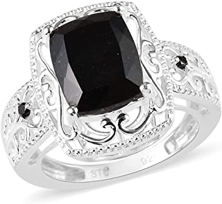 Statement Ring 925 Sterling Silver Black Tourmaline Black Spinel Jewelry for Women Ct 2.5