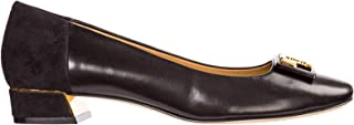 Tory Burch Woman's Gigi Ballerina with Logo in Soft Black Nappa and Suede