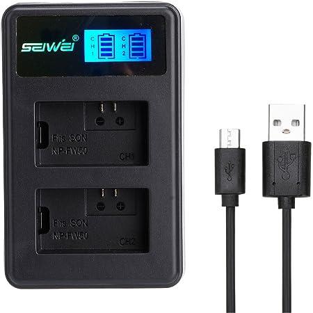 SONY NP-FW50対応新型USB充電器 LCD付 USBバッテリーチャージャー デュアルチャネルバッテリー充電器 NEX-7K/NEX-6/NEX-5N SLT-A55V/SLT-A33/ NEX-5A等対応 (SONY NP-FW50対応)