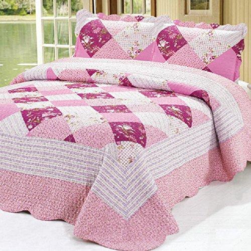 Beddingleer Tagesdecke Bettüberwurf Patchwork Bettwäsche Gedruckt Vintage Stil Rosa Handgefertigte Bettwäsche 220x230 cm 3 teilig
