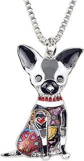 "Bonsny Love Pets Enamel Zinc Alloy Chihuahua Necklace Dog Animal Pendant Women Jewelry 18"""