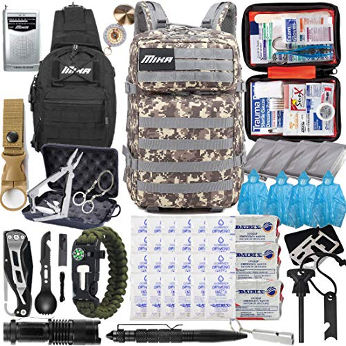 MIKA (2021 Model) Premium 72 Hours Emergency Survival Gear Equipment Backpack, Up to 4 People, Hurricane Supplies and Preparedness Kit for Earthquake, Hurricane, Wildfire (Grey/Brown Camouflage)