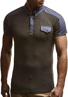 ca078aeec2eeb TOPUNDER Men s Fashion Short Sleeve Denim Fold Large Size Casual Top Blouse  Shirts