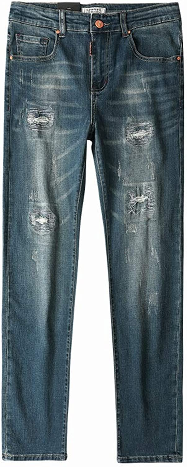 Hole Jeans Men's Patch Korean Version of The Tide Brand Retro Old Simple Spring and Summer Thin Section Casual Stretch Jeans (color   bluee, Size   30)