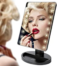 Praxon 22 LED Touch Screen Health Beauty Adjustable Countertop 360 Rotating Tool Makeup Vanity Mirror Lights // Portable S...