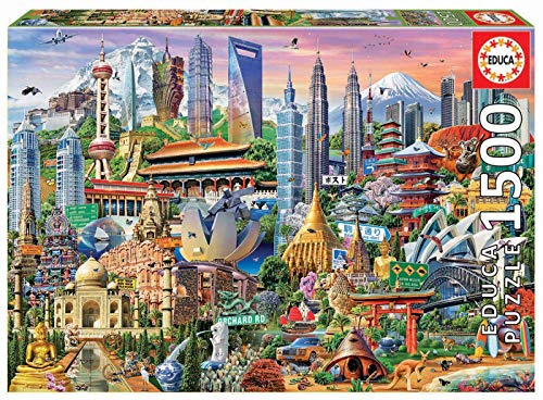 Educa Borras-1500 Paesaggi Asiatici Puzzle, Multicolore, 17979
