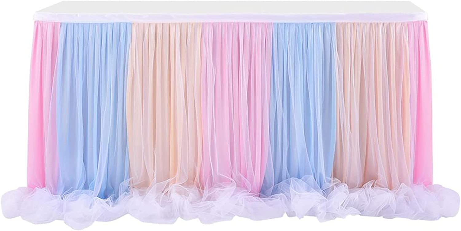 Chicago Mall YUJIA Deluxe Colorful Organza Curly Willow Tu Rainbow Table Skirt Tulle