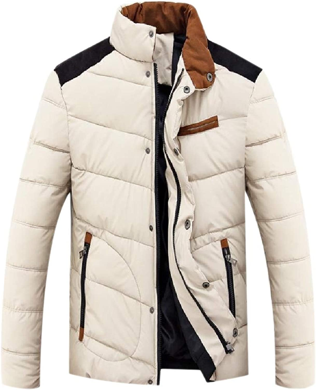 Fnnmk Men's Outwear greenical Collar Overcoat Coat Cotton Wadded Jacket