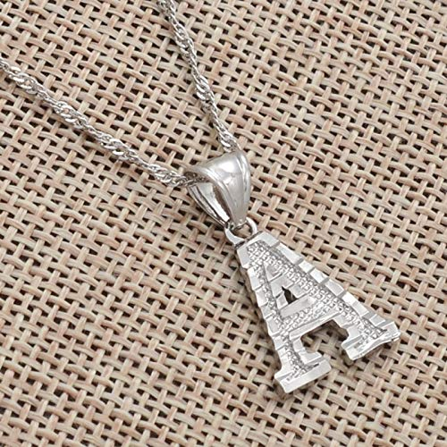 FQSCX Necklace Pendant Jewelry A-Z Small Letters Necklaces Women Girl Silver Color Initial Pendant Chain English Letter Jewelry Alphabet Gift 60cmThinChain R