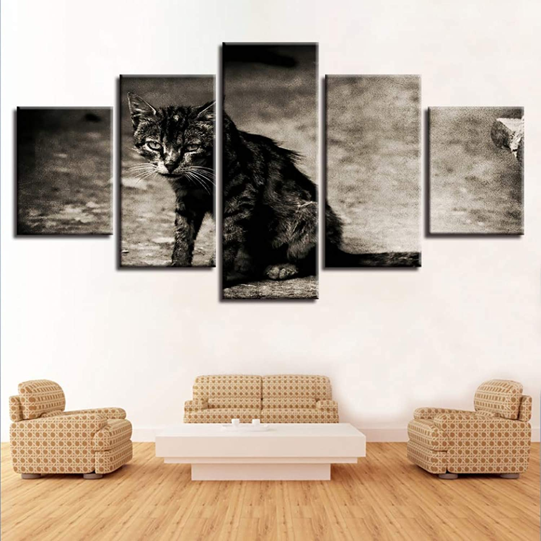 buscando agente de ventas ISAAC ENGLAND Arte de la Parojo Resumen Decorativo Modular 5 5 5 Panel Animal Cat Marco de la Lona Cuadros de Pintura para la Sala de Estar Dormitorio Prints-, 30x40 30x60 30x80 cm  precios ultra bajos