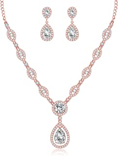 GULICX AAA Cubic Zirconia CZ Silver Plated Base Women's Party Jewelry Set Earrings Pendant Necklace