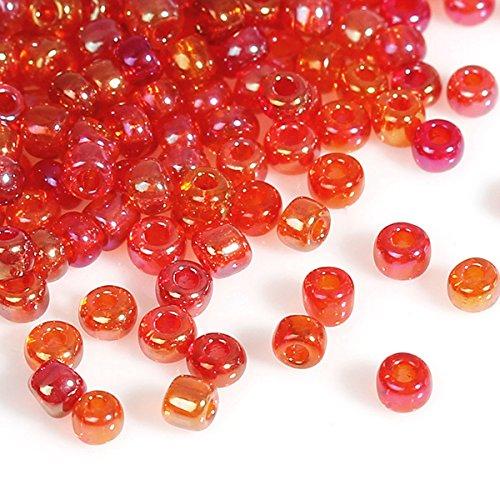 Pléiades Création Lote de 1000 Cuentas de rocallas Rojas de 2 mm de diámetro 10/0 – Creación Bijoux