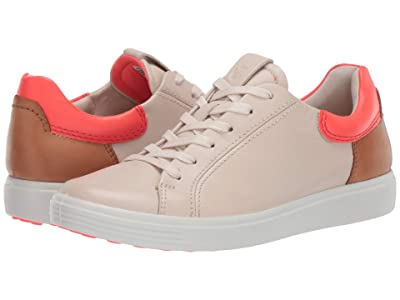 ECCO Soft 7 Street Sneaker (Vanilla/Coral Neon/Lion Cow Leather/Cow Leather/Cow Nubuck) Women