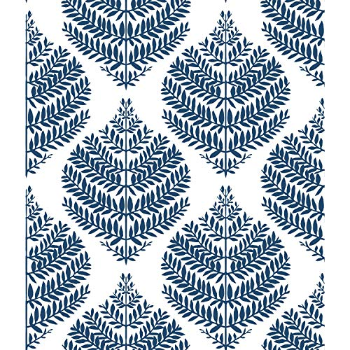 RoomMates Hygge Fern Damask Blue Peel and Stick Wallpaper | Removable Wallpaper | Self Adhesive Wallpaper