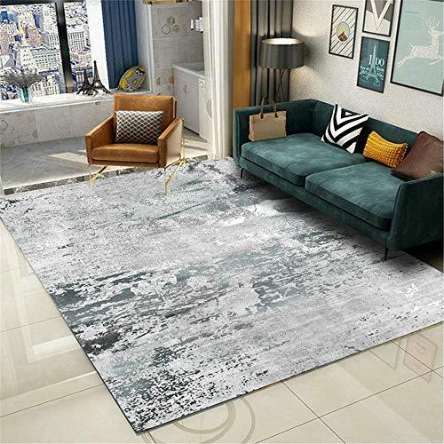 AU-SHTANG alfombras baño Antideslizante Fácil de Mantener la Alfombra Moderna Vulnerable, Suave, Modelo de desenfoque Blanco Gris Alfombra Gateo -Grisáceo_120x160cm