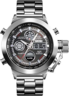 ساعة 1515 للرجال كوارتز احترافية 3ATM مقاومة للماء عرض مزدوج الحركات المزدوجة توقيت غرينيتش متعددة الوظائف ساعة رقمية مضيئ...