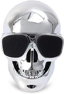 EXCEART Skull Head Speaker Portable USB Wireless Speaker Desk Ornament Compatible for Desktop PC Laptop Mobile Phone MP3 MP4 Player Silver
