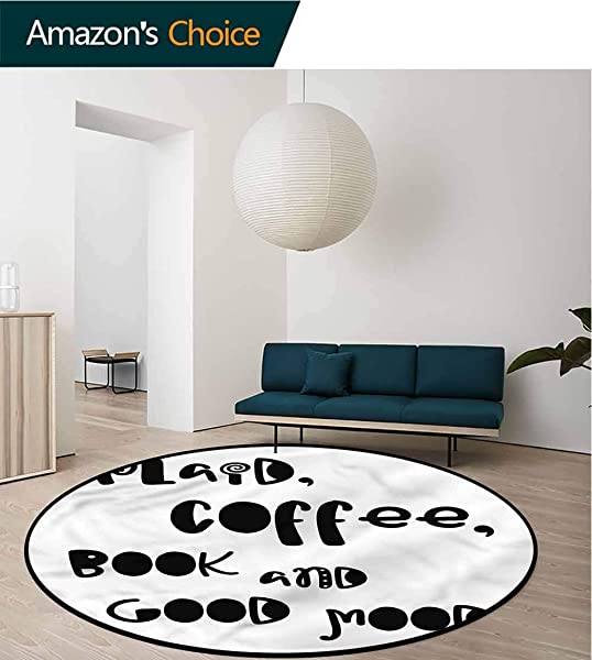RUGSMAT Book Modern Machine Washable Round Bath Mat Plaid Coffee Good Mood Protect Floors While Securing Rug Making Vacuuming Round 31