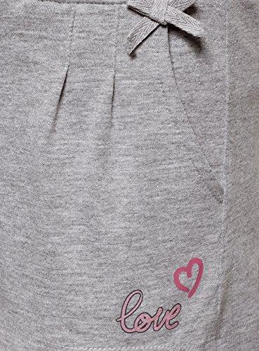 oodji Ultra Mujer Pantalones Cortos de Estar por Casa con Inscripción, Gris, ES 42 / L