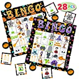 28 cartas de juego de bingo de Halloween (5 x 5) para niños, fiestas de Halloween, juegos de cartas, juegos de aulas, trucos o tratamientos, fiestas de Halloween, actividades familiares