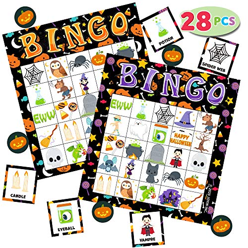 28 Halloween Bingo Game Cards (5X5) for Kids Halloween Party Card Games, School Classroom Games, Trick or Treating, Halloween Party Favors Supplies, Family Activity