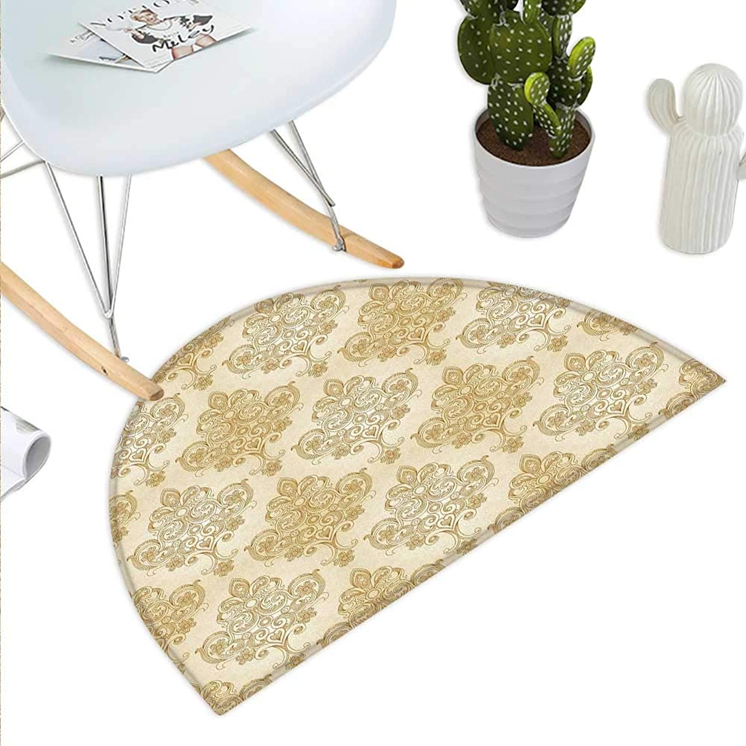 Ivory Semicircle Doormat Vintage Baroque Pattern with Curved Flower Lines Rococo Style Ornate Artwork Halfmoon doormats H 35.4  xD 53.1  Cream Pale Brown
